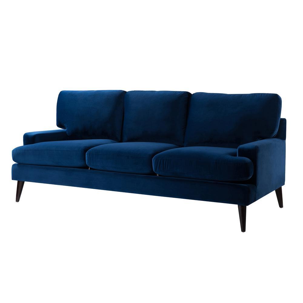 Jennifer Taylor Jack Navy Blue Tuxedo Sofa 8403 3 859 The Home Depot