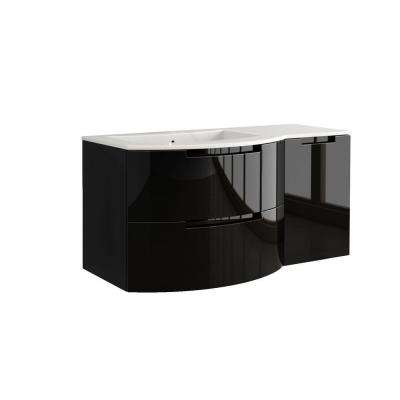 Oasi 53 in. Bath Vanity in Glossy Black with Tekorlux Vanity Top in White with White Basin