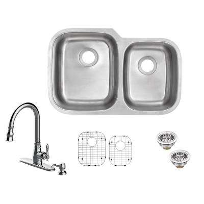 All-in-One Undermount 18-Gauge Stainless Steel 32 in. 60/40 Double Bowl Kitchen Sink with Pull-Out Kitchen Faucet