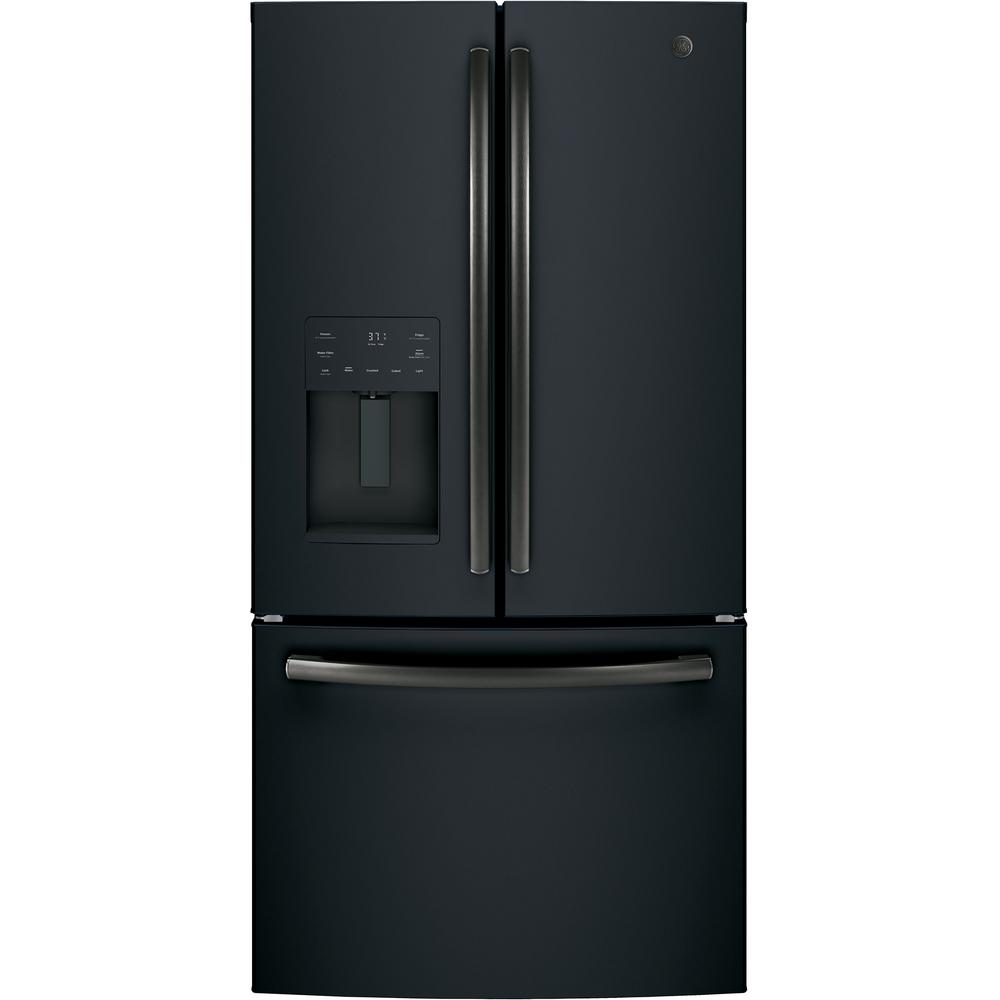 Ge 256 Cu Ft French Door Refrigerator In Black Slate Energy Star