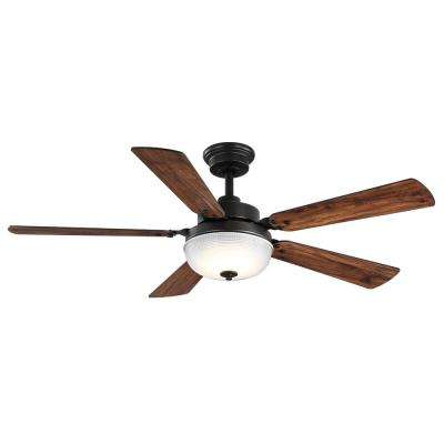 Archie 52 in. Integrated LED Indoor Venetian Bronze Dual Mount Ceiling Fan with Light Kit and Remote Control