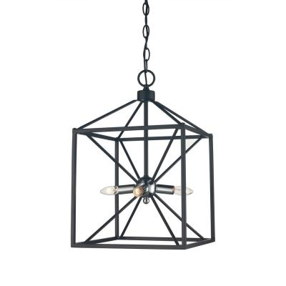 Donovan 4-Light Polished Chrome and Black Pendant