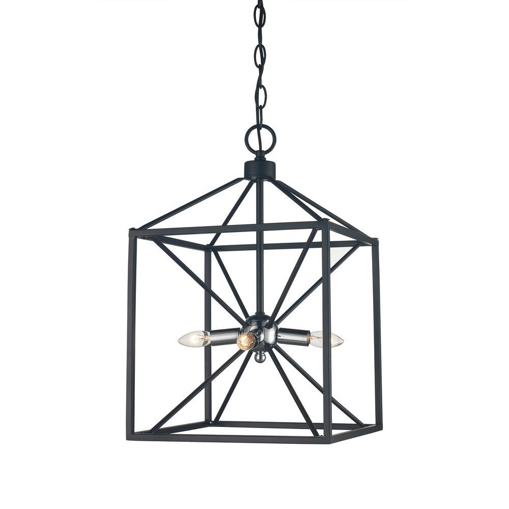 Donovan 4-Light Polished Chrome and Black Pendant · Bel Air Lighting ...  sc 1 st  The Home Depot & Chrome - Bel Air Lighting - Cage - Pendant Lights - Lighting - The ... azcodes.com