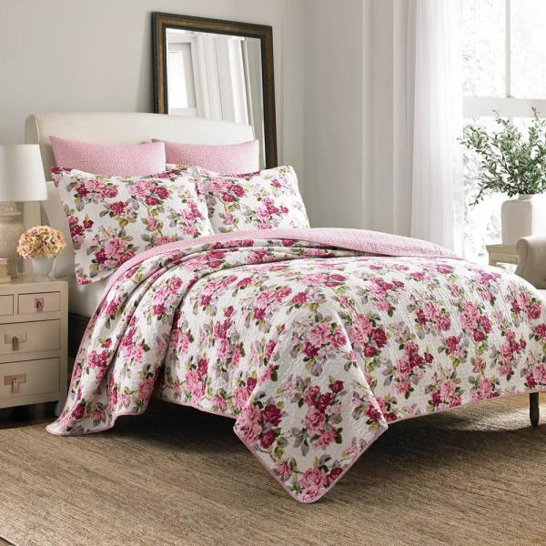 Lidia 3-Piece Multicolored Pink Floral Cotton Full/Queen Quilt Set