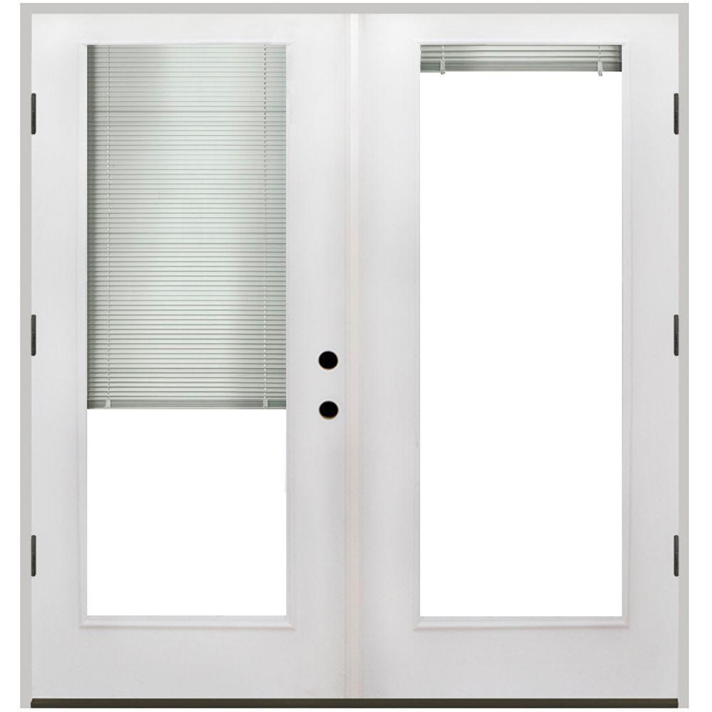 Steves Sons 64 In X 80 Primed White Fibergl Prehung Left Hand Outswing Mini Blind Patio Door Fgpmb Pr 4olh The Home Depot