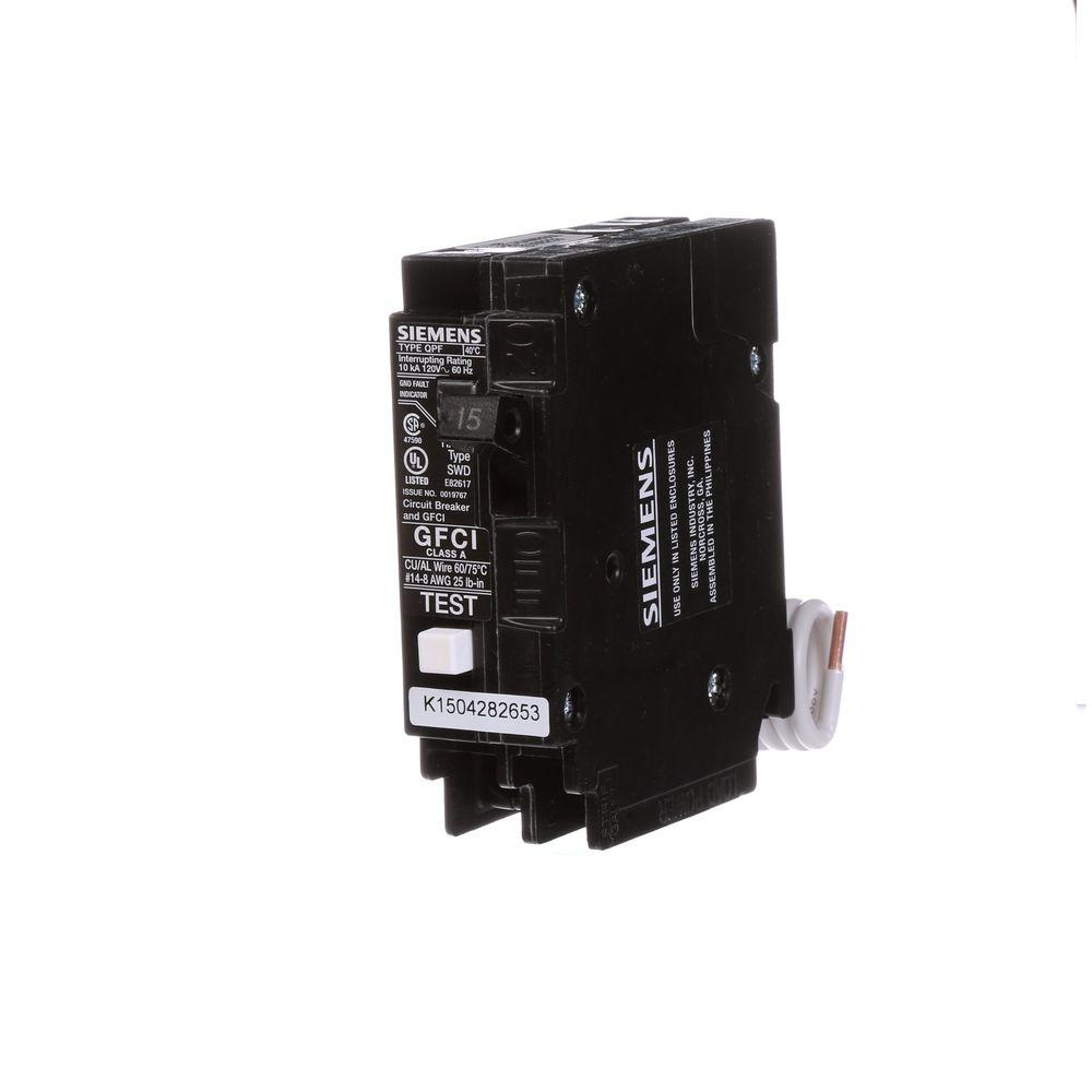 Siemens 15 Amp Single Pole Type QPF2 GFCI Circuit Breaker