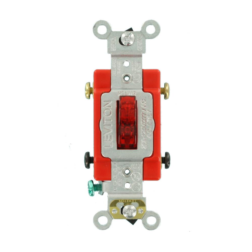 20 Amp Industrial Grade Heavy Duty Double-Pole Pilot Light Toggle Switch,