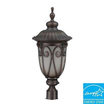 1-Light Outdoor Burlwood Fluorescent Post Light