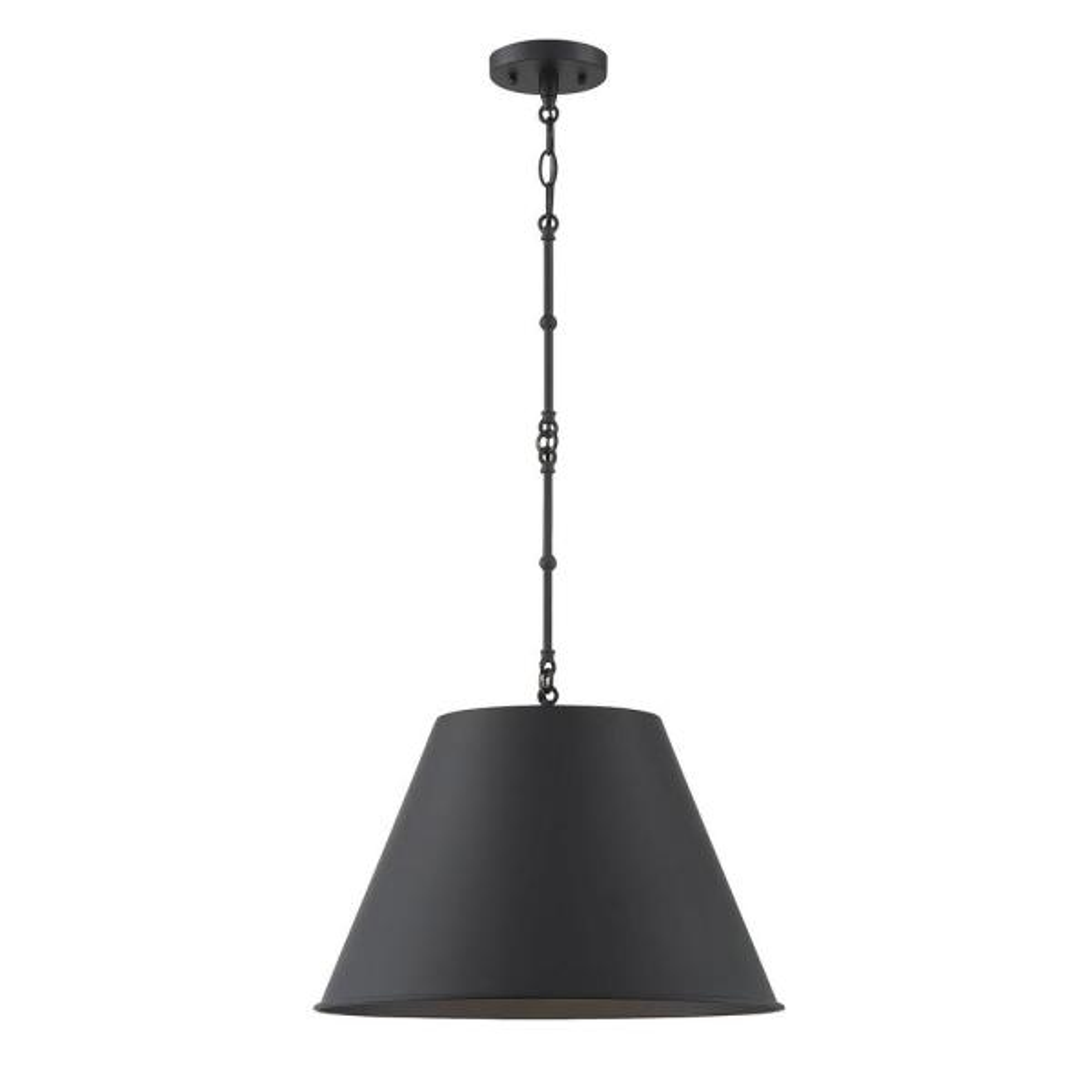 1-Light Matte Black Pendant