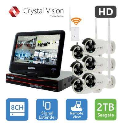 8-Channel True HD 2TB HDD Wireless CCTV with 6-Autopair Waterproof IR Cameras Built-In Monitor and Router