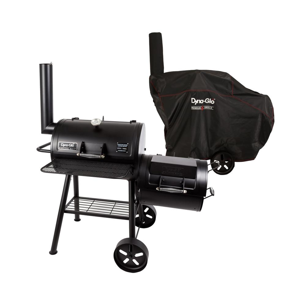 Dyna-Glo Signature Series Heavy Duty Barrel Charcoal Grill and Offset Smoker in Black with Cover