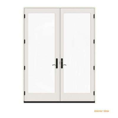 72 in. x 96 in. W-4500 Contemporary Vanilla Clad Wood Left-Hand Full Lite French Patio Door w/White Paint Interior