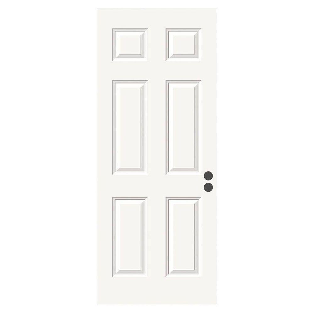 null 32 in. x 80 in. 6-Panel Primed Premium Steel Front Door Slab