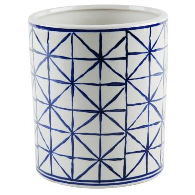5.5 in. D Blue and White Geometric Utensil Crock