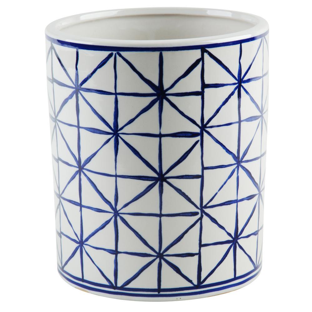 5.5 in. D Blue and White Geometric Utensil Crock