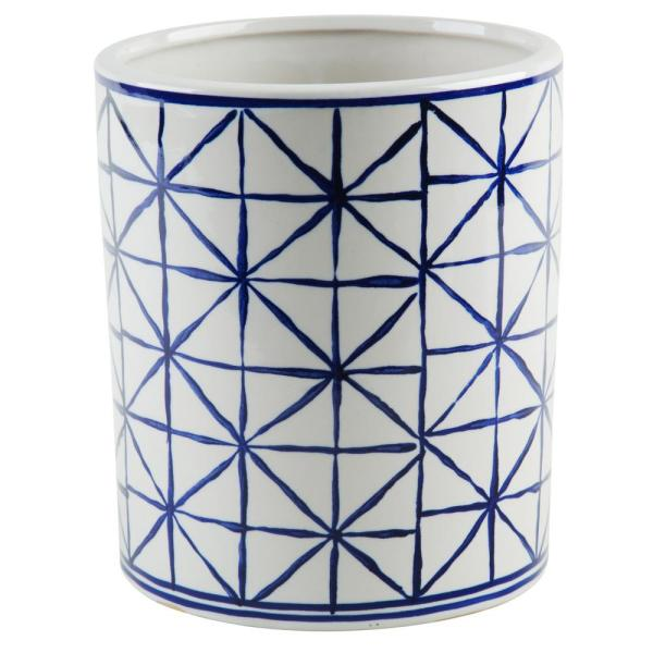 Home Essentials & Beyond 5.5 in. D Blue and White Geometric