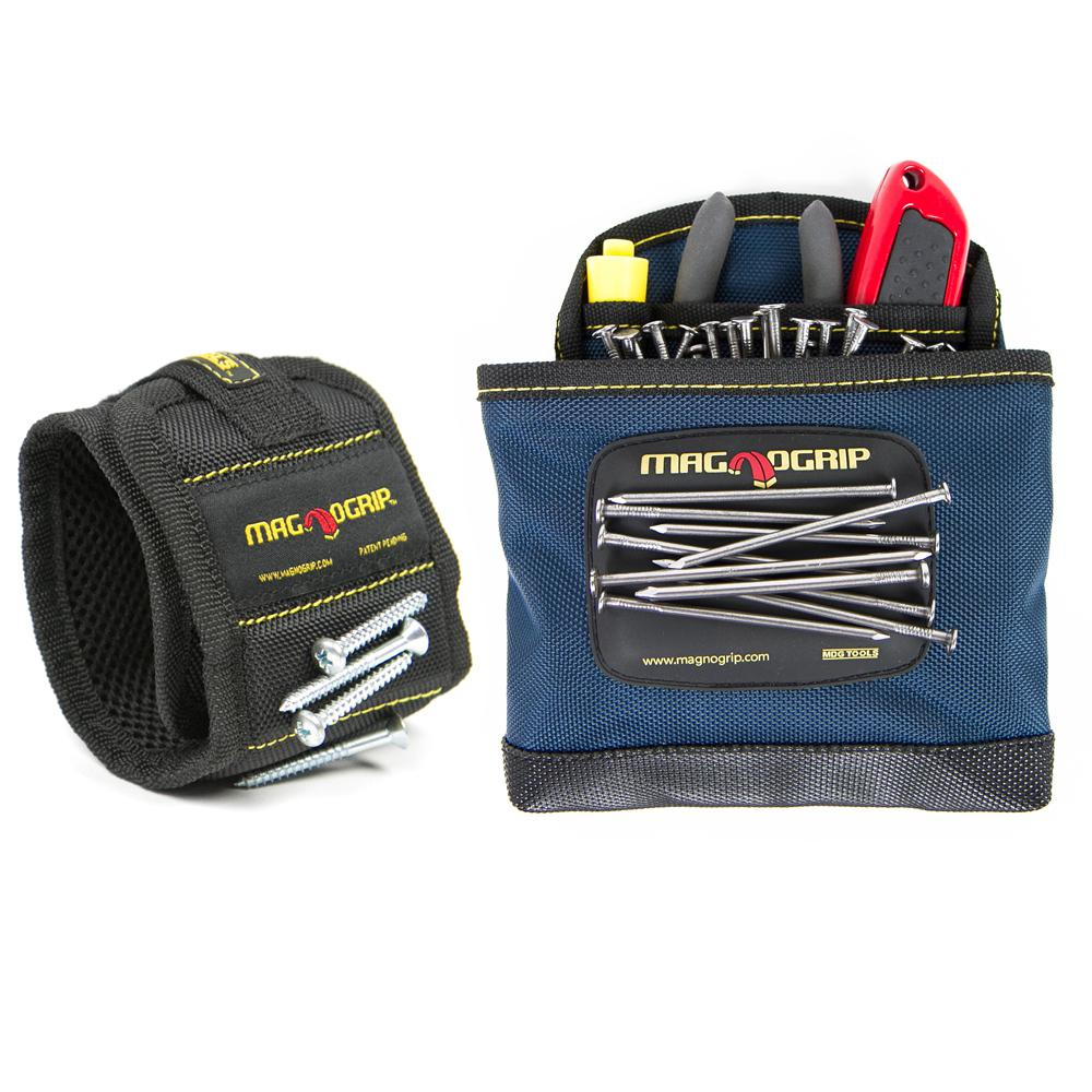 MagnoGrip Magnetic Wristband and Magnetic Clip-On Pouch Set (2-Pack)