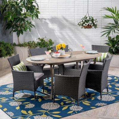 Wyatt Gray 7-Piece Wood and Wicker Outdoor Dining Set with Silver Cushions