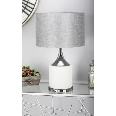 Litton Lane 24 in. Light Gray Tapered Cylindrical Table Lamp with Dark Gray Linen Shade