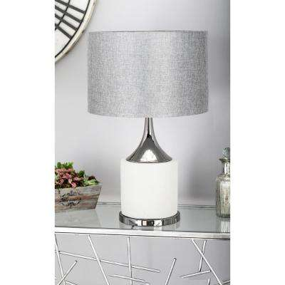 24 in. Light Gray Tapered Cylindrical Table Lamp with Dark Gray Linen Shade
