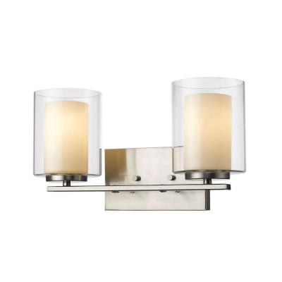 Wesson 2-Light Brushed Nickel Bath Vanity Light