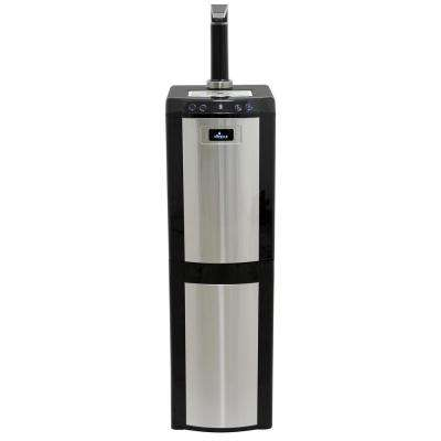 Bottom Load Hot/Room/Cold Water Dispenser with Top Mount Faucet in Stainless Steel and Black