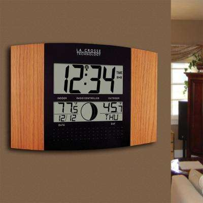 11-1/2 in. x 7-3/4 in. Digital Atomic Oak Wall Clock with Moon Phase and Temperature