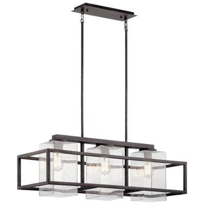 Wright 3-Light Weathered Zinc Linear Outdoor Hanging Large Chandelier with Clear Seedy Glass
