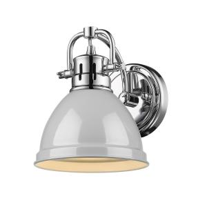Duncan Collection Chrome 1-Light Bath Sconce Light with Gray Shade