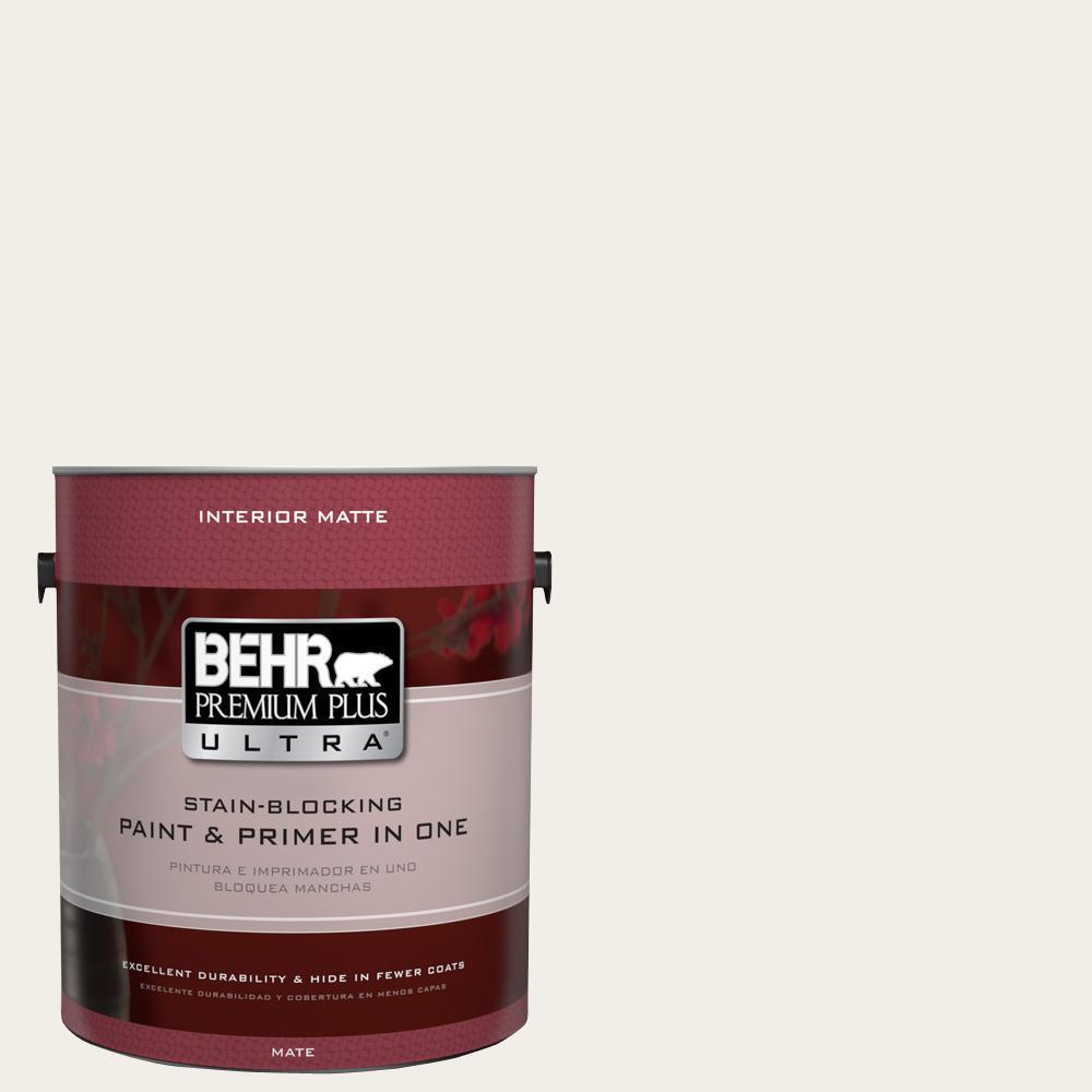 BEHR Premium Plus Ultra 1 gal. #UL200-12 Snowy Pine Interior Flat Enamel Paint