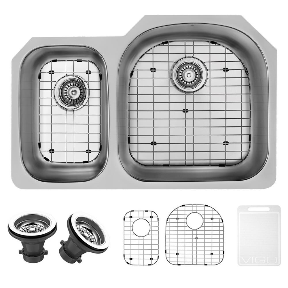 VIGO Undermount Stainless Steel 31.5 in. Double Basin Kitchen Sink with Grid and Strainer