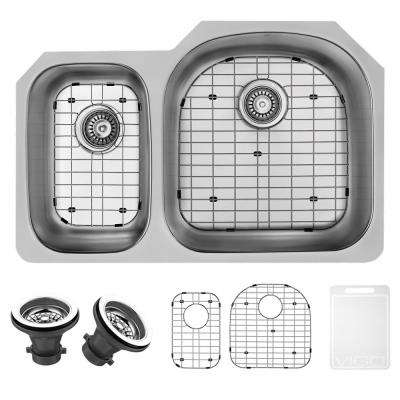 Undermount Stainless Steel 31.5 in. Double Basin Kitchen Sink with Grid and Strainer