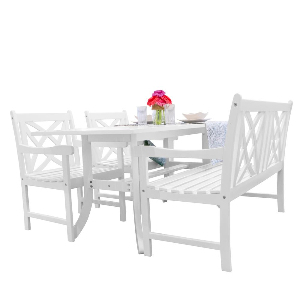Vifah Bradley 4 Piece Wood Outdoor Dining Set V1337set24 The Home Depot