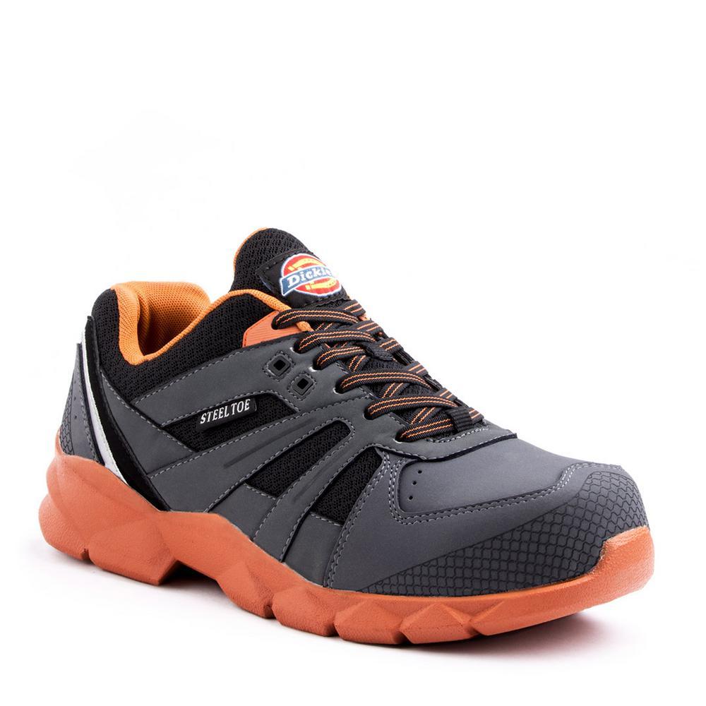 fad1b16a8998 Dickies Rook Men Size 10.5 Medium Gray Orange Steel Toe Work Shoe ...