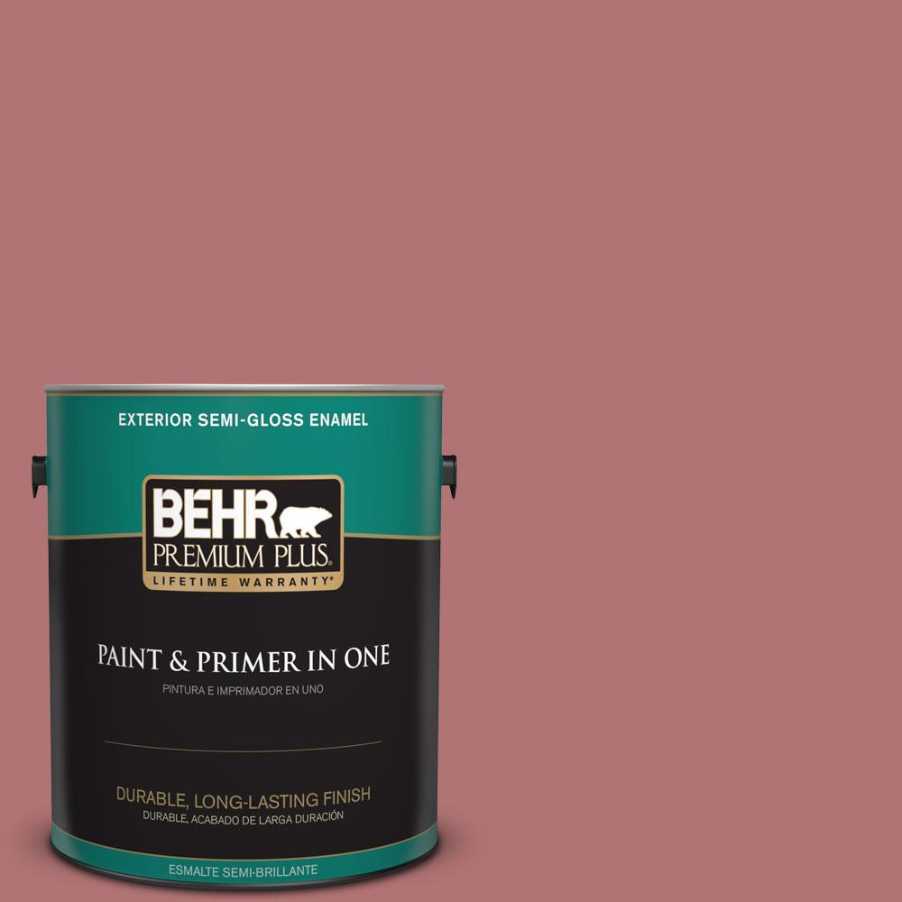 BEHR Premium Plus 1-gal. #S140-5 Red Gerbera Semi-Gloss Enamel Exterior Paint
