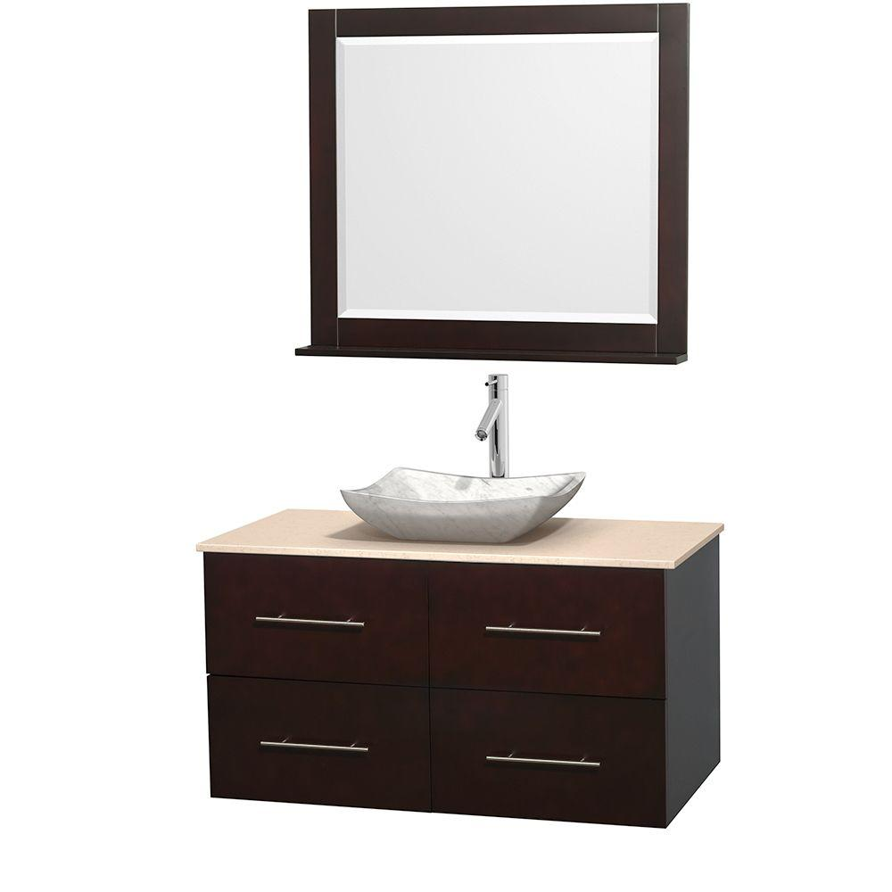 Wyndham Collection Centra 42 in. Vanity in Espresso with Marble Vanity Top in Ivory, Carrara White Marble Sink and 36 in. Mirror