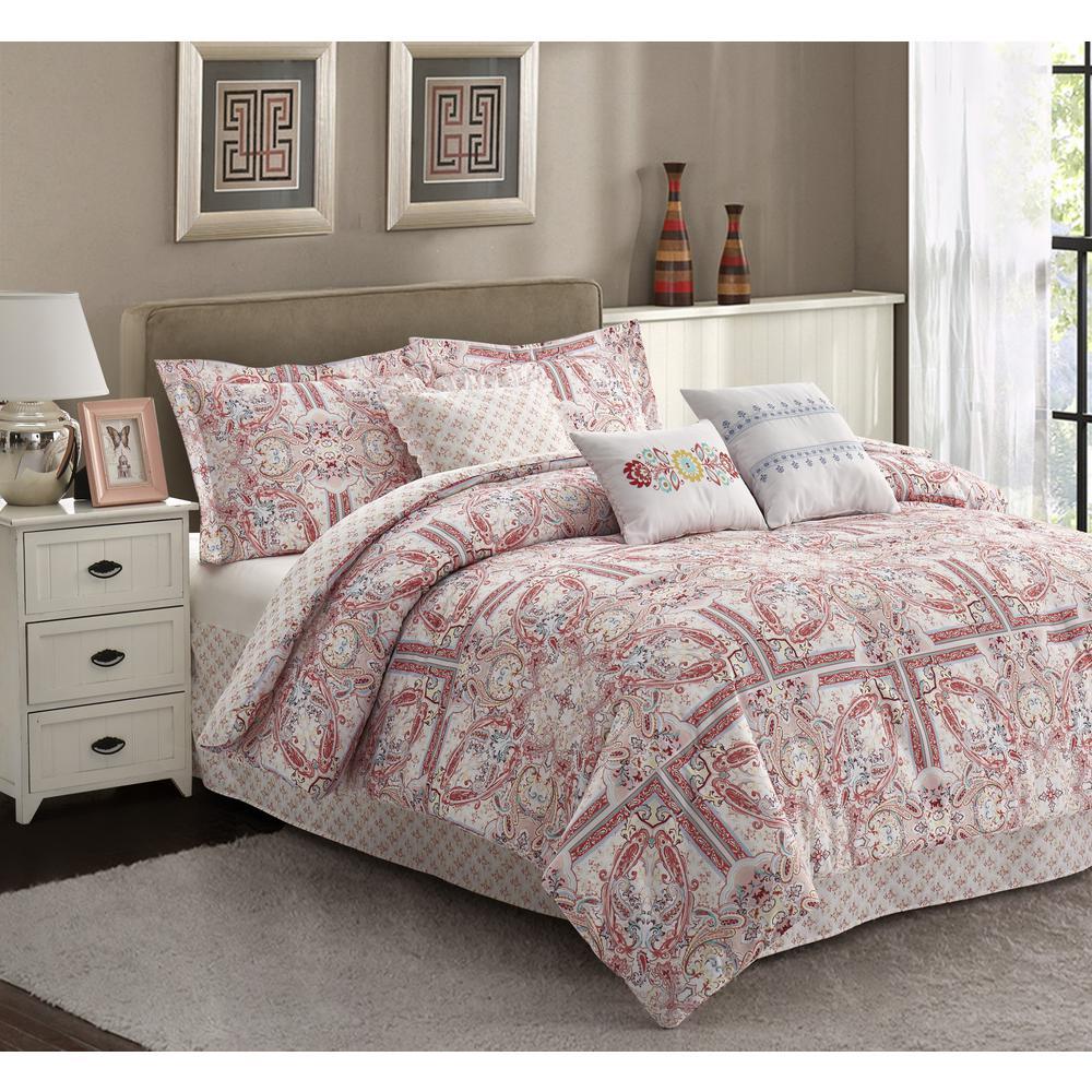 R2Zen Josephine 7-Piece Pink Medallion Queen Comforter Set
