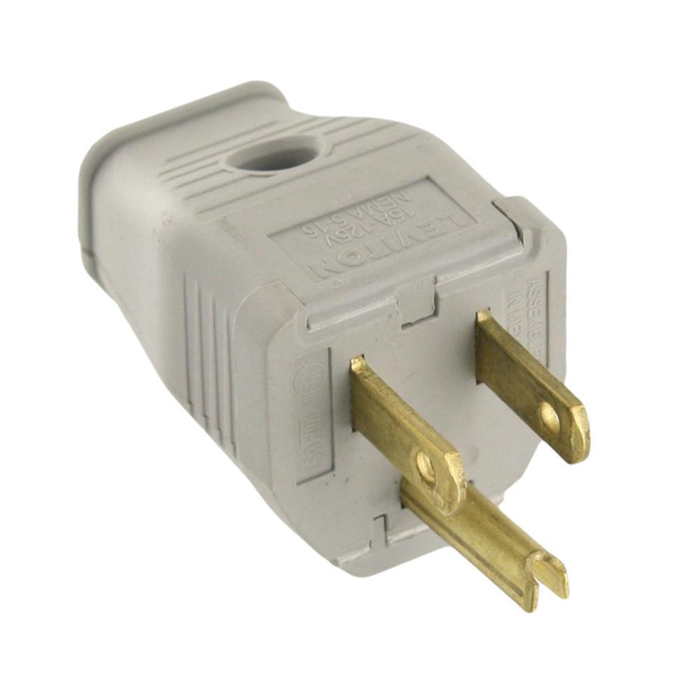 home plug wiring leviton 15 amp 125-volt 3-wire grounding plug, gray-3w101 ... standard 4 pin trailer plug wiring plug diagram