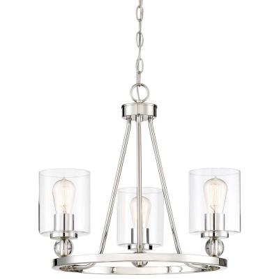 Studio 5 Collection 3-Light Polished Nickel Chandelier with Clear Glass Shades