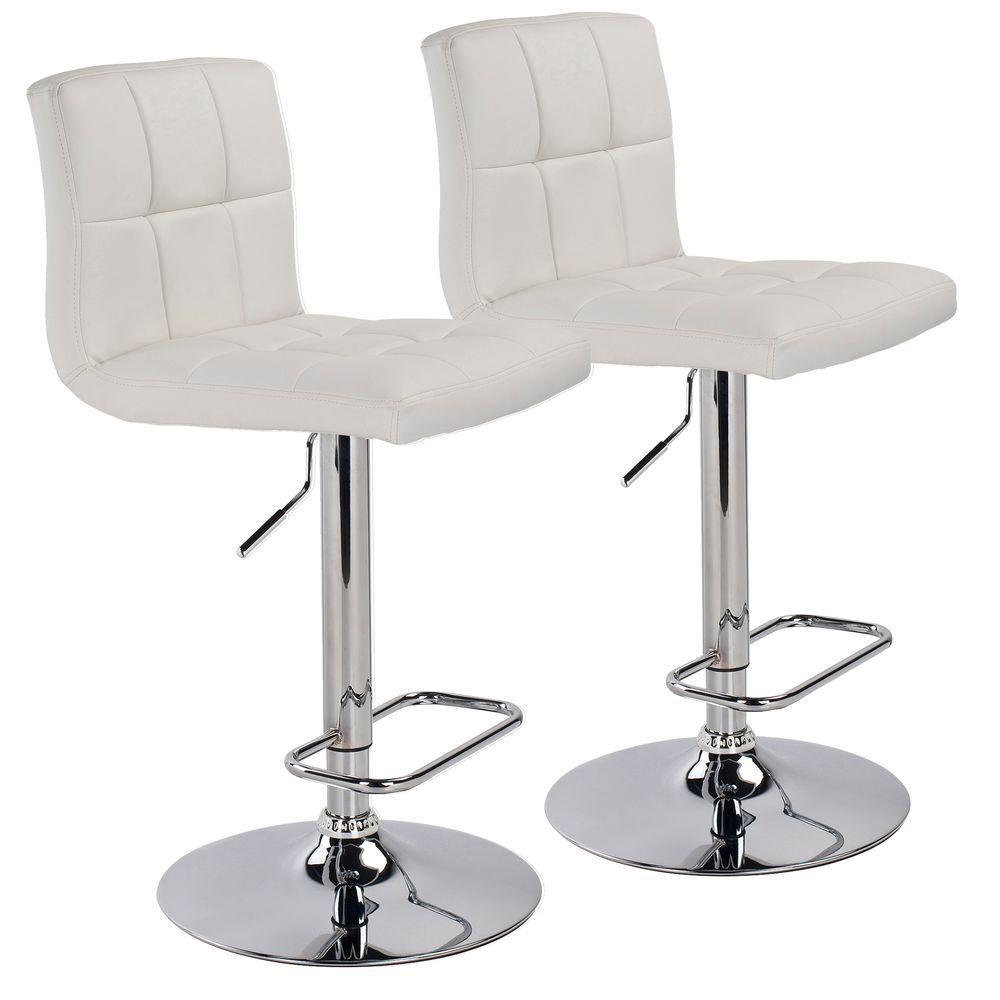 Worldwide Homefurnishings 24.5 in. Adjustable Faux Leather Chrome Metal Bar Stool in White (Set of 2)
