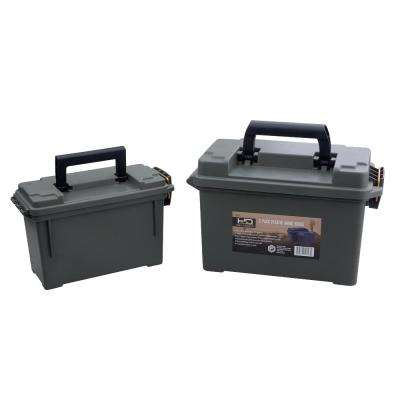 Black Heavy Duty Plastic Ammo Storage Boxes (2-Pack)