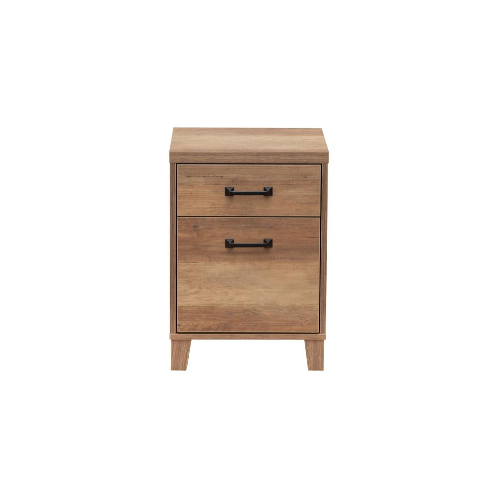 15.5 in. W Rustic Oak Wood Grain Two Door File Cabinet