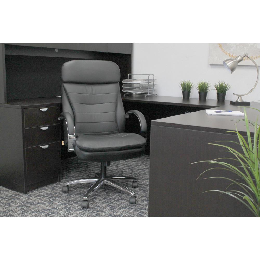 Designer High Back Executive Chair. Black Vinyl. Chrome finish arms & Base. Padded Arms. Pneumatic Lift.