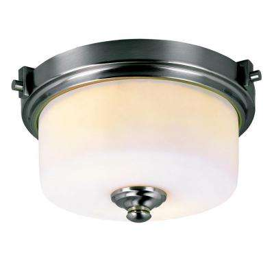 Cabernet Collection 2-Light Brushed Nickel Flush Mount with White Frosted Shade