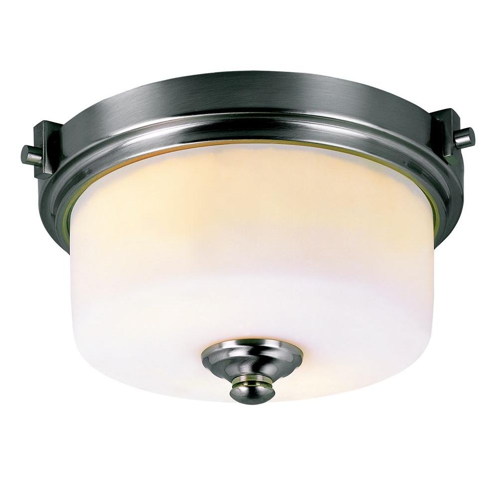 Bel Air Lighting Cabernet Collection 2-Light Brushed Nickel Flushmount with White Frosted Shade