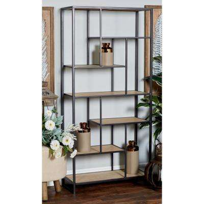 Brown Open Design Rectangular Book Shelf