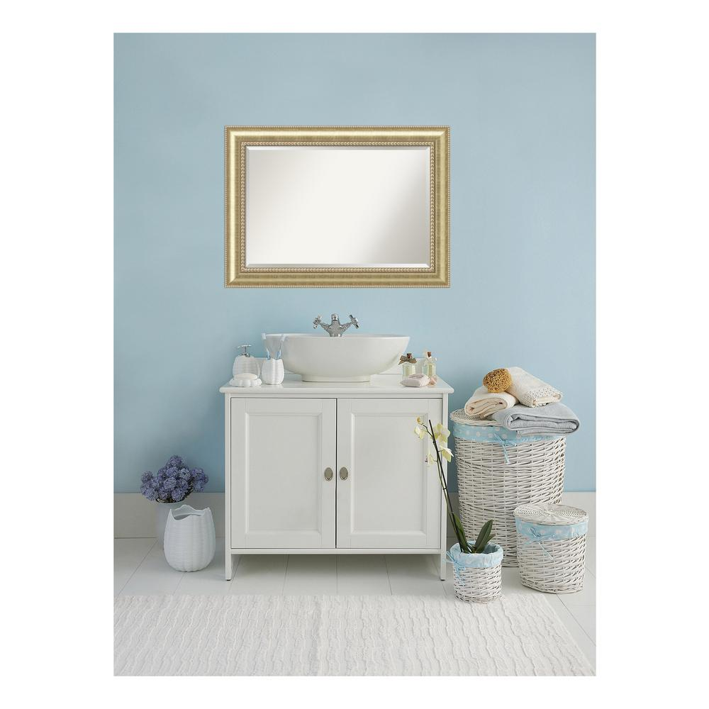 Astoria Champagne Wood 43 in. W x 31 in H Traditional Bathroom Vanity Mirror