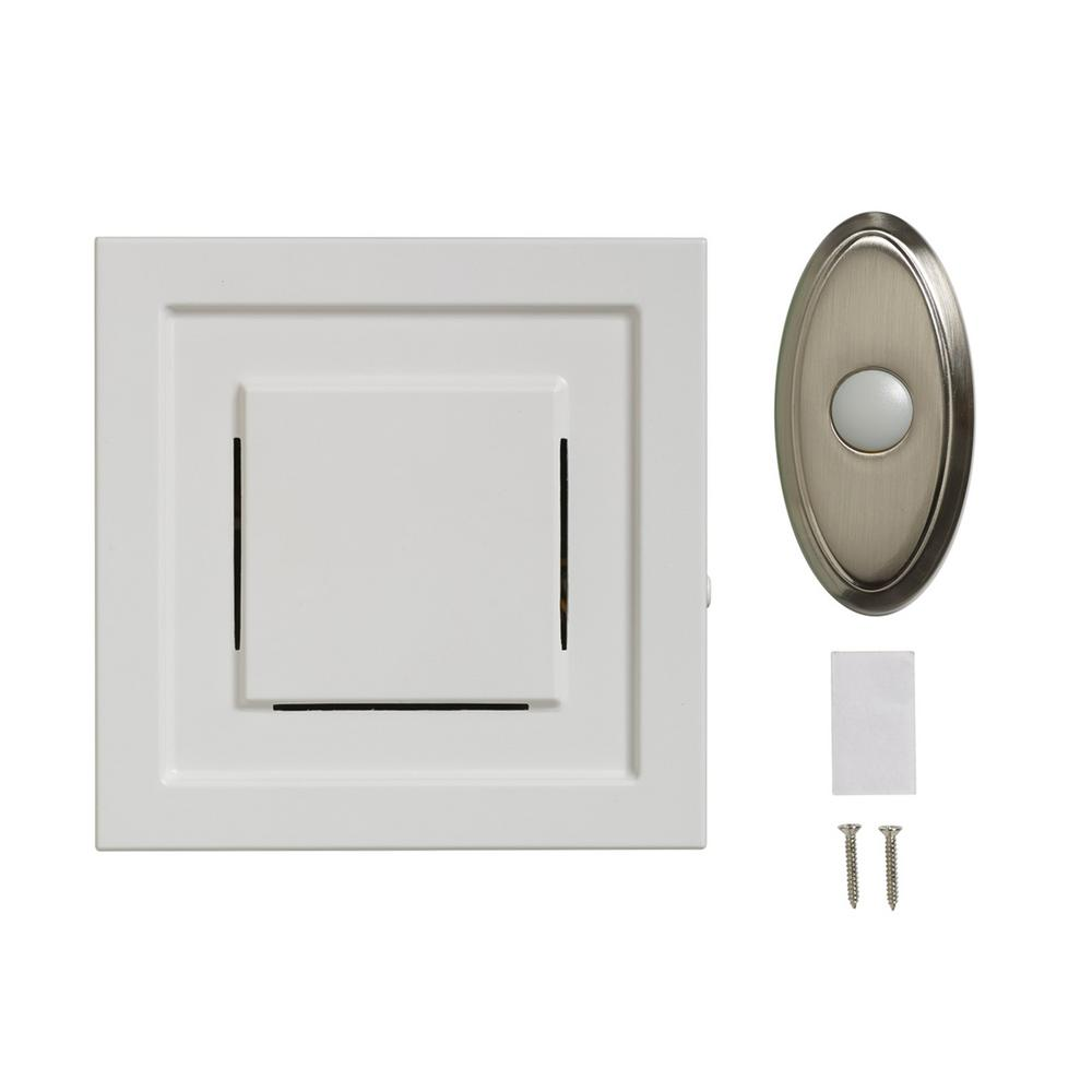 White wireless plug in door chime receiver with nickel for Door bell push