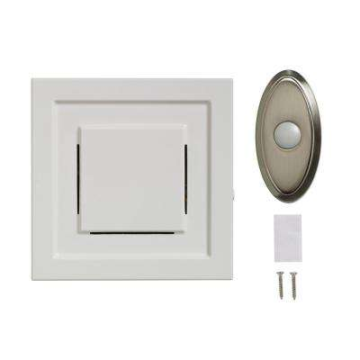 White Wireless Plug-In Door Chime Receiver with Nickel Wireless Door Bell Push Button