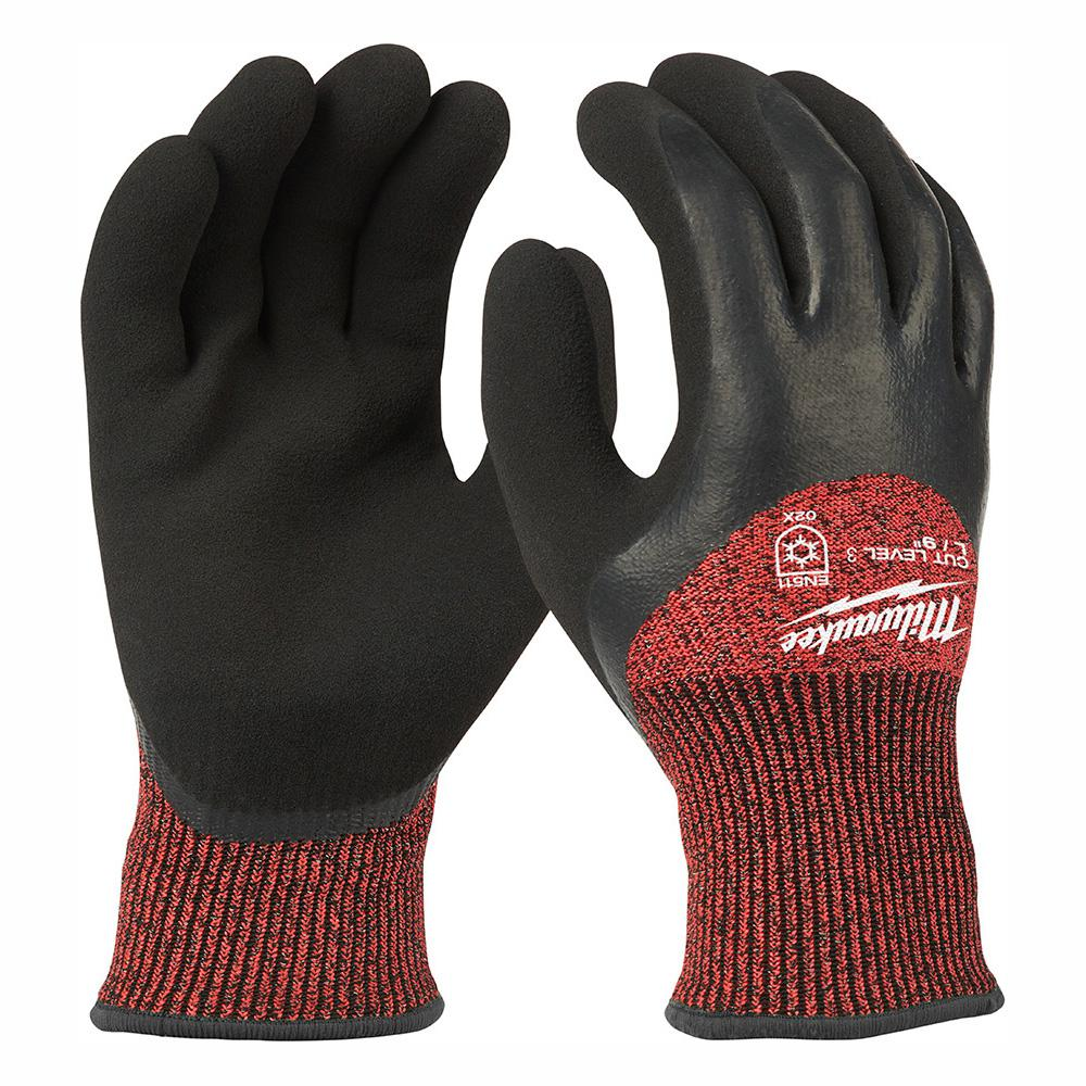 Milwaukee Large Red Nitrile Dipped Cut 3 Resistant Winter Insulated Work Gloves